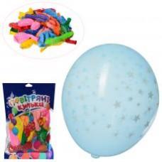 Шарики надувные MK 1039-2 12 дюймов, микс цветов, принт звезда,  50шт в кульке,20-18-2см