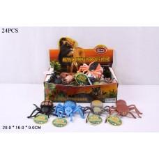 Животные резиновые 7427 (42632) Пауки,5 видов, в боксе 27*15*8,5см, игр-10см/цена з