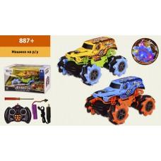 Машина аккум  р/у  887BIG FOOT, боковая езда,2 цвета,свет,звук, в кор. 29.5*18*17.5 см, р-р и