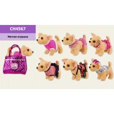 Мягкая игрушка CH4567  собачка в сумочке,6 видов,звук,р-р сумки 20*12*17 см, р-р собачки - 27*
