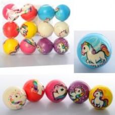 Мяч детский фомовый MS 2981 ( 6,3см, единорог, микс видов, упаковка 12шт, 25-19-6,3см