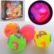 Мяч массажный MS 2392-3 ( 7,5см, пищалка, цифры, св,бат(таб),12шт(4цв) в дисплее, 30-23-8см