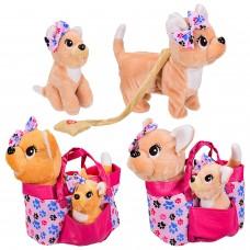 Мягкая игрушка BL-155R муз. собачка в сумочке со щенком, 2 вида,р-р собачки-26*12*27см,р-р щ