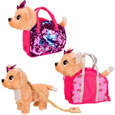 Мягкая игрушка BL-157R  муз собачка, рус яз. в сумочке, 2 вида,р-р собачки-29*10*26см,р-р су