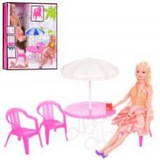 Кукла 68084  шарнирная, 30см, кафе, мебель,зонт, в кор-ке, 26,5-32,5-8см