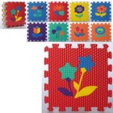 Коврик Мозаика MR 0359  EVA, напольн.покрыт, цветы,9дет(9мм,32-32см), кул,32-32-8,5см