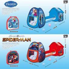 Палатка  2025B-1/2027B-1 Крижане серце/Spiderman з тунелем 2в.у сумці 300*95*100