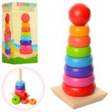 Деревянная игрушка Пирамидка MD 1215   20,5см, кольца 7шт,в кор-ке, 10-21,5-9,5см