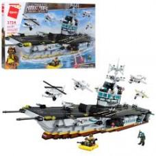 Конструктор Qman 1724 военный, корабль, транспорт, фигурки,1007дет,в кор-ке,62-40-8см