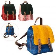 Рюкзак MK 2163 размер средний, 23-21-14см,застеж-кнопка,1наруж/1внутр.карман,3цв, в куль,
