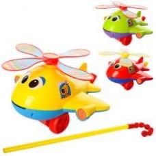 Каталка 0368 на палке41см, вертолет,звук,вращ.винт,высов.язык,3цвета,в кульке, 22-21-13см
