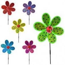 Ветрячок M 6027  размер средний,диам.28см,палочка50см, цветок,6цветов,в кульке,28-28-2см