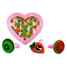 """Набір колець """"Веселі фрукти"""" в коробці 36шт A027 р.14*16*3см"""
