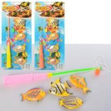 Рыбалка 1458 (240шт)  магнитная, рыбка4шт, 6,5см, микс цветов,на листе, 15-35-2,5см