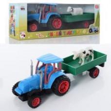 Трактор 0488-8Q  инер-й, с прицепом, 26см, животное, микс видов, в кор-ке, 29-10-8см