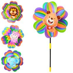 Ветрячок M 3727 размер средний,диам.24,5см,палочка39см,цветок,4вида,24,5-24,5-4см