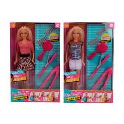 Кукла DEFA 8381-BF 30см, набор парикмахера(плойка, расческа), 2вида, в кор-ке, 19-31-5см