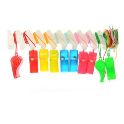 Свисток MS 0883 пластик, со шнуром, 5цветов, 4,5-1,5-1,5см